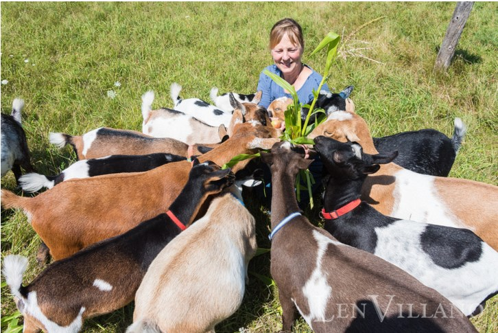Lynne with her goats